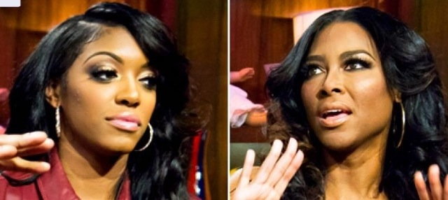 Real Housewives of Atlanta Porsha Stewart drags Kenya Moore across the stage at reunion taping